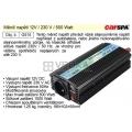 Měnič napětí 12V / 230 V / 500 Watt